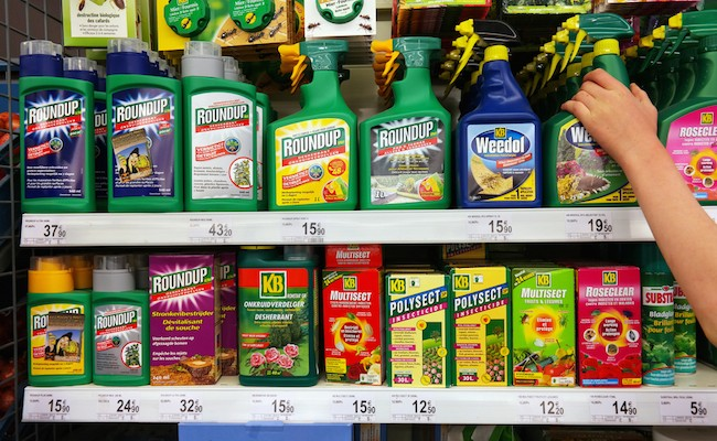 STAVELOT, BELGIUM - MAY 6, 2016: Shelves with a variety of Pesticides in a Carrefour Supermarket. Roundup is a brand-name of an herbicide containing glyphosate, made by Monsanto.