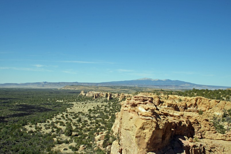 Mount Taylor, in northwestern New Mexico, seen across the sandstone formations of El Malpais National Monument
