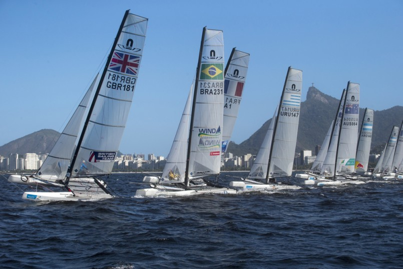 Windsurfers starts for the Warming Rio race on the Guanabara bay preparing the 2016 Oly games.