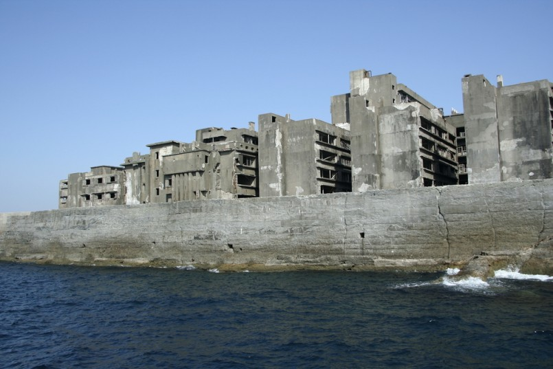 Destroyed buildings on Gunkajima near Nagasaki in Japan