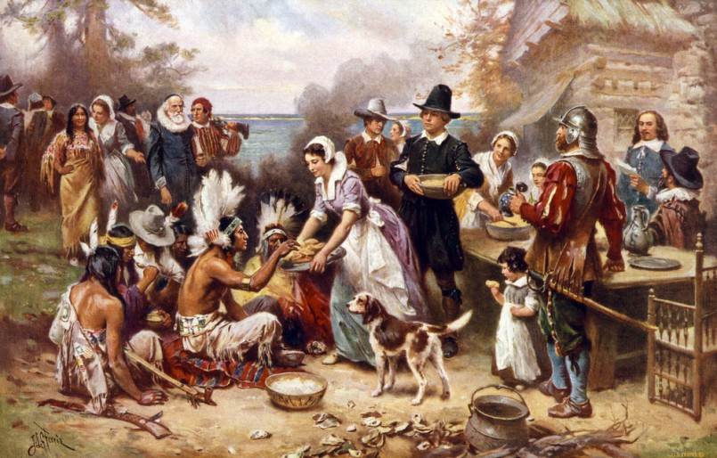 The first Thanksgiving, 1621, Pilgrims and natives gather to share a meal, oil painting by Jean Louis Gerome Ferris, 1932