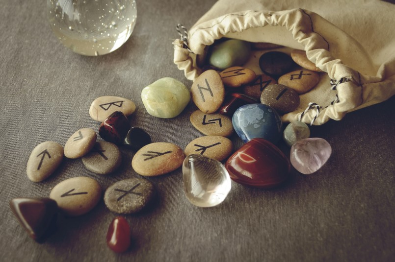 divination and prediction on runes and Tarot, mysticism or esoteric isolated on grey background