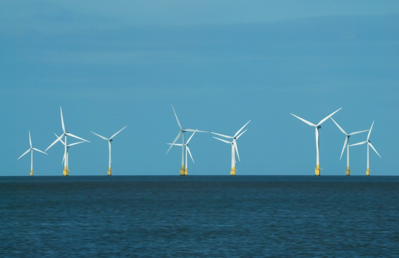 Renewable energy - wind turbines at Scroby Sands, Great Yarmouth