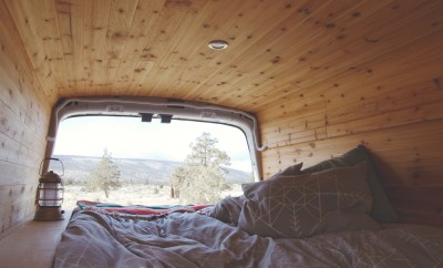 Inside of a camper van