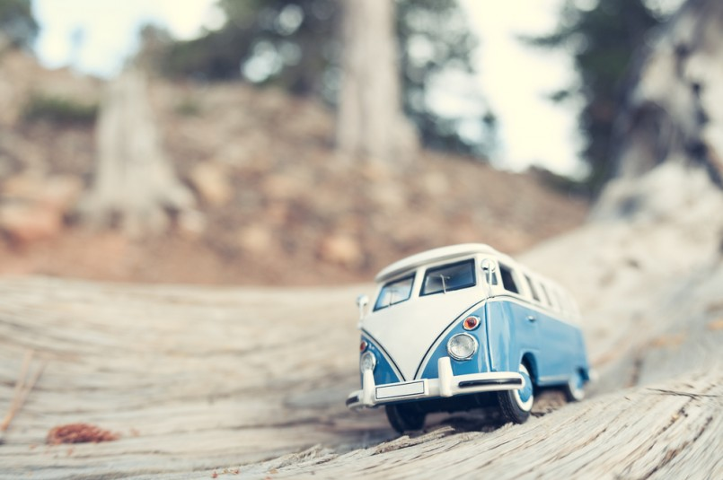 Vintage travelling van. Macro photo