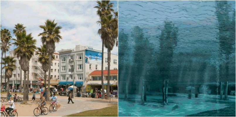 Venice Beach, California now and in 2200
