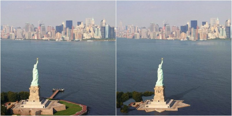 Statue of Liberty, New York City now and in 2200