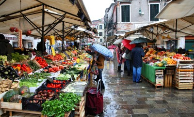 Shoppers at a farmers market on September 16, 2009 in Venice, Italy