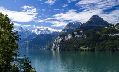 scenic mountains over water in switzerland