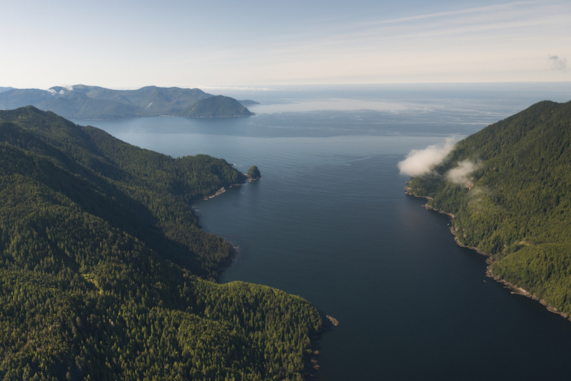 Aerial view of islands in the Pacific Ocean, Skeena-Queen Charlotte Regional District, Haida Gwaii, Graham Island, British Columbia, Canada