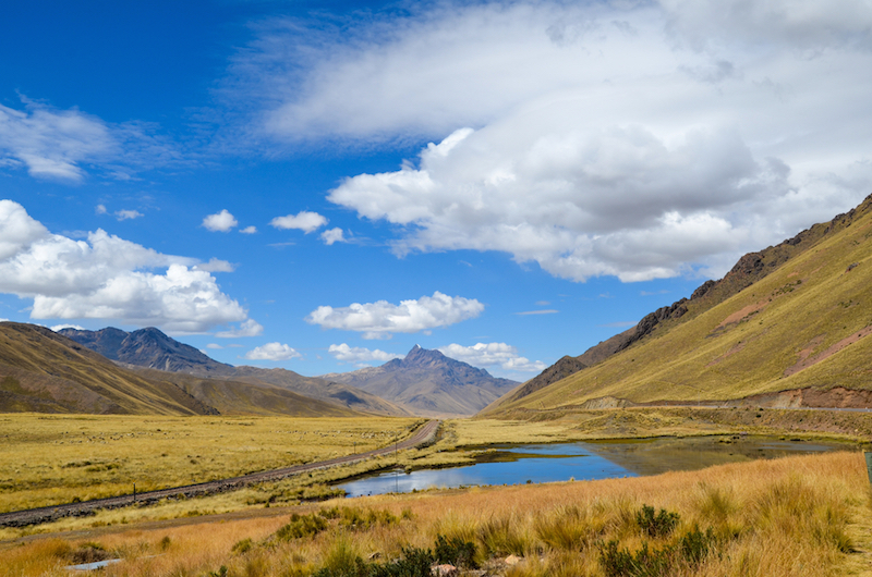 The Peruvian Altiplano (high plains) and Andes mountains between Puno and Cusco on the first day of summer