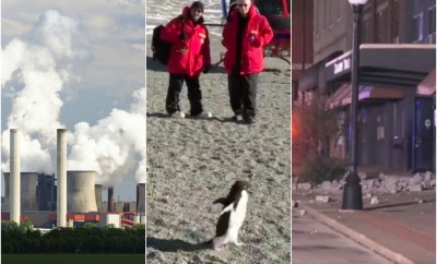 smoke pollution climate change concept climate scientists penguin antarctica earthquake