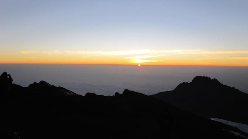 sunrise view at top of mt kilimanjaro in africa