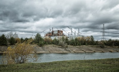 Chernobyl alienation zone. View of Chernobyl atomic plant.