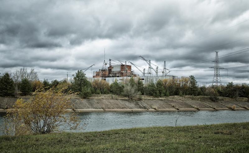 Chernobyl alienation zone. View of Chernobyl atomic plant.