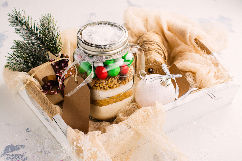 cookies mix with color candies in a jar handmade christmas gift selective focus