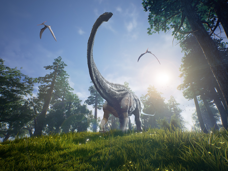 Diplodocus browsing a selection of trees with two Pteranodons flying overhead.