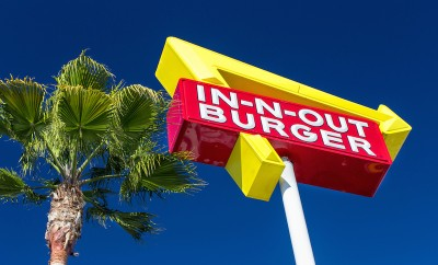 exterior sign of an in n out burger restaurant regional chain of fast food with locations united states southwest