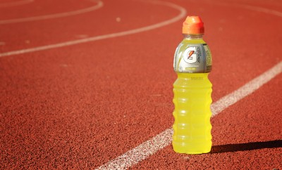 Montreal, CANADA - October 13, 2014: Orange Gatorade bottle on a race track.