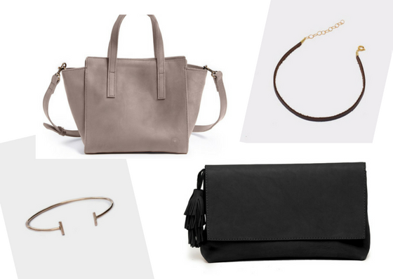 leather handbag and clutch and jewelry fashionable sustainable gift guide