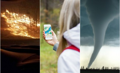 planet roundup smoky mountain wildfires forest fires blonde outdoor woman with apple phone app tornado climate change