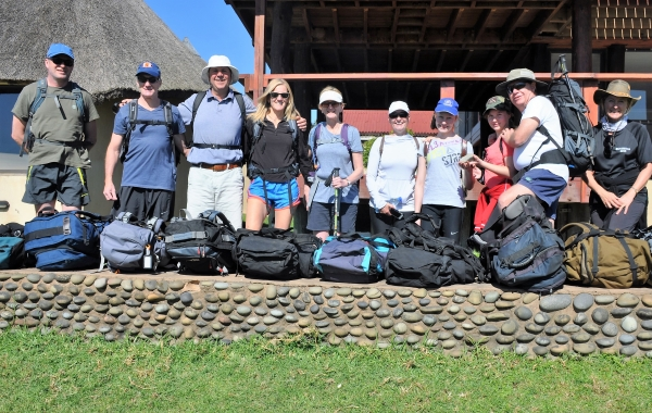 group of adventure people slackpacking