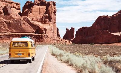 yellow van driving road trip west america southwest arizona utah