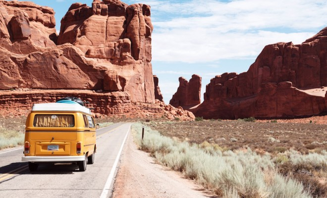 yellow van driving road trip west america southwest arizona utah