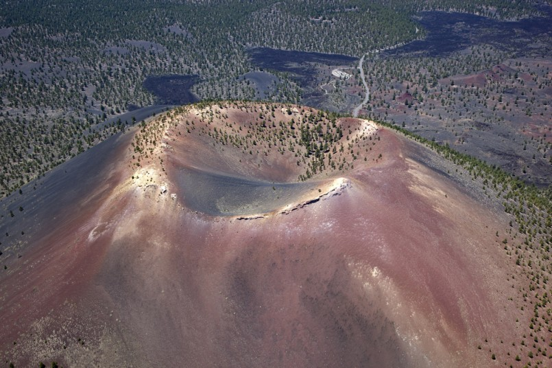Aerial view of Sunset Crater in Northern Arizona