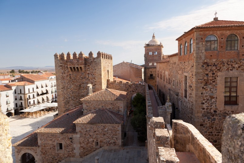 Caceres monumental. Bujaco Tower, Toledo-Moctezuma's palace, the Episcopal Palace and the Plaza Mayor views from the Tower of the Pulpits. Spain