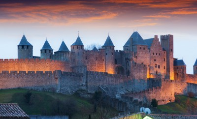 Castle in evening time. Carcassonne, France