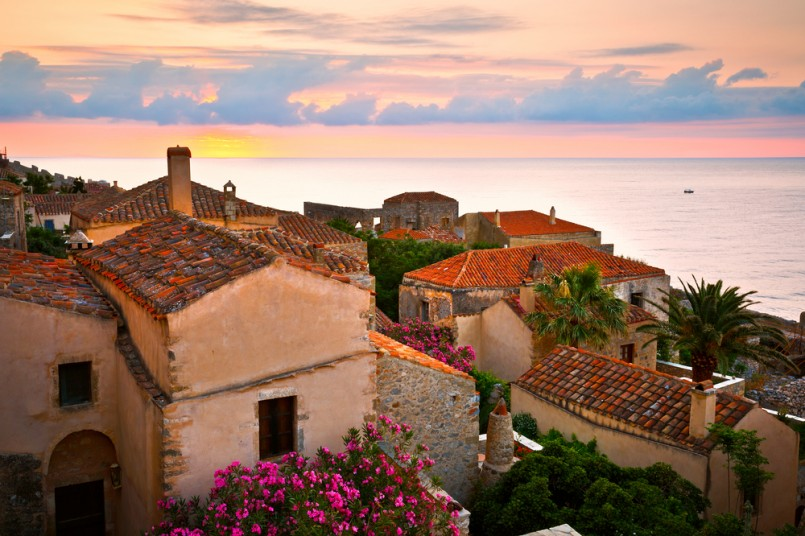 Monemvasia village in Peloponnese, Greece