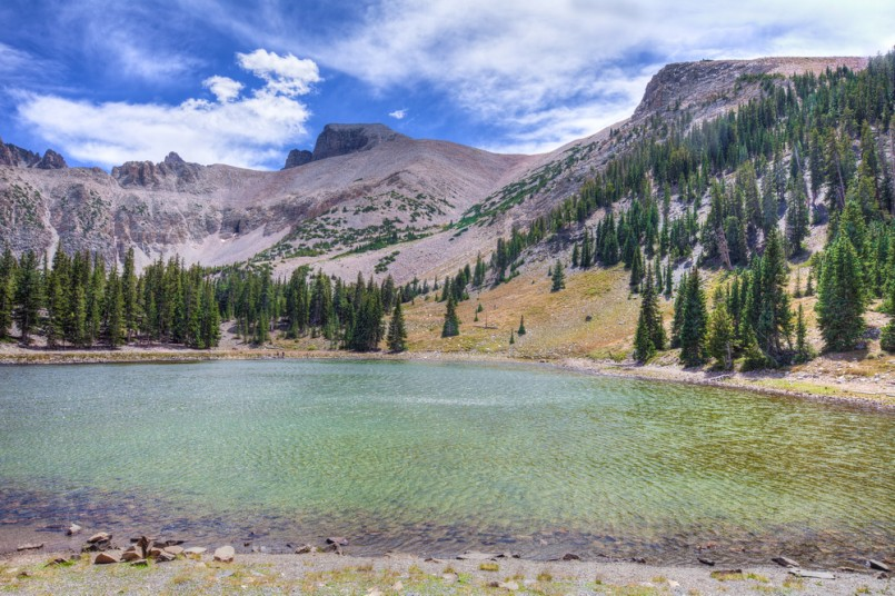 NV-Great Basin National Park- This is Stella Lake, one of the more beautiful alpine lakes in this national park. Wheeler Peak is peeking out in the background.